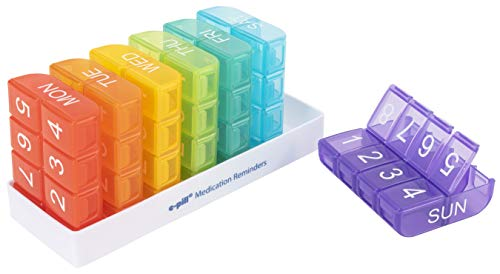 e-Pill 8 Times a Day x 7 Day Large Weekly Pill Organizer - Multicolor