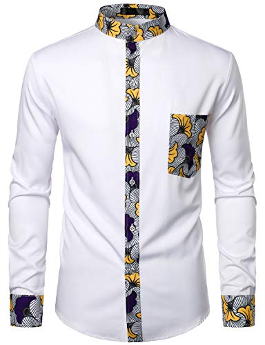 LucMatton Men's Stylish African Floral Printed Long Sleeve Button up Dress...