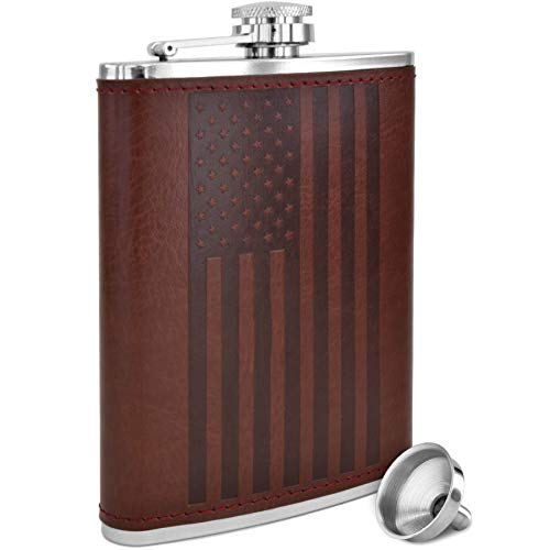 American Flag Flask - 8 oz Premium Soft Touch Leather Wrap | 18/8 304...