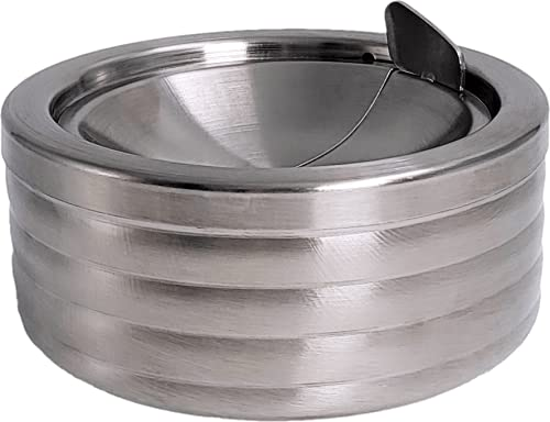 Grooved Silver Smokeless Classic Metal Ashtray with a Lid for Cigarettes -...