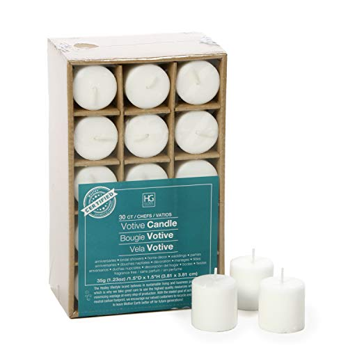 Hosley's Set of 30 Unscented White Votive Candles