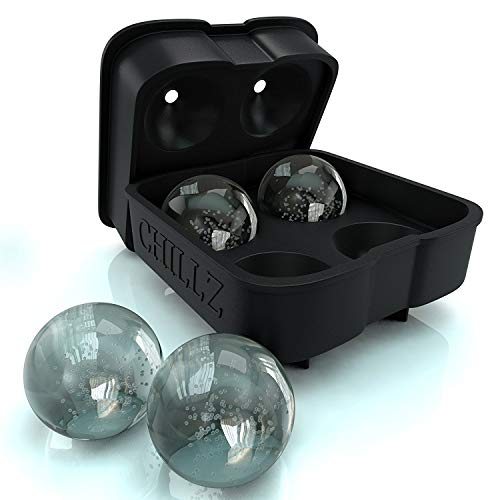 Chillz Ice Ball Maker Mold - Black Flexible Silicone Ice Tray - Molds 4 X...