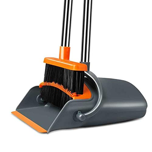 Chouqing Dust Pan and Broom, Self-Cleaning with Dustpan Teeth, Ideal for...