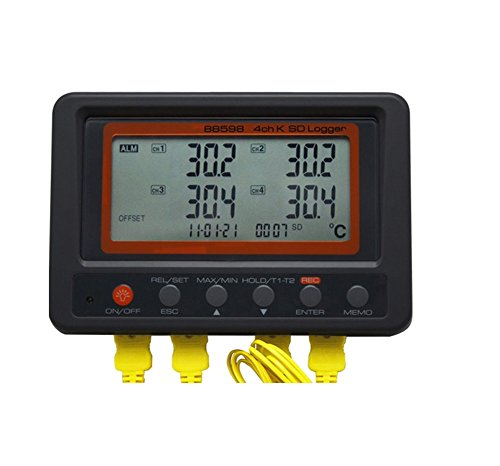 Temperature Data Logger Large LCD Display Digital 4GB SD Card 4 Channel K...