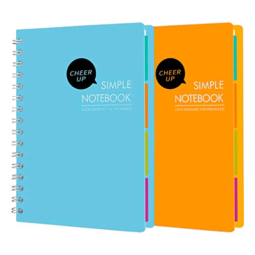 Cheer Up Spiral Notebook, 4 Subject, College Ruled, A5 Notebooks, 240...