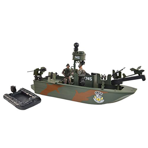 Sunny Days Entertainment Navy Warfare Gunboat – Vehicle with 2 Army Men...