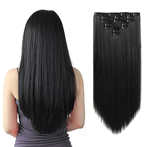 SYXLCYGG Black Hair Extensions,Clip on Hair Extensions 22'Straight Fluffy...