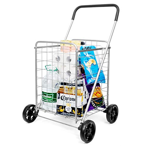 supenice Grocery Utility Shopping Cart - Deluxe Utility Cart with Oversized...