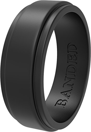 Silicone Wedding Ring for Men, Silicone Ring Rubber Wedding Bands, Step...