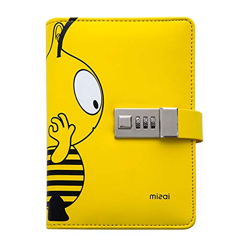 A6 PU Leather Journal, Cute Small Notebook, Diary with Lock, Combination...