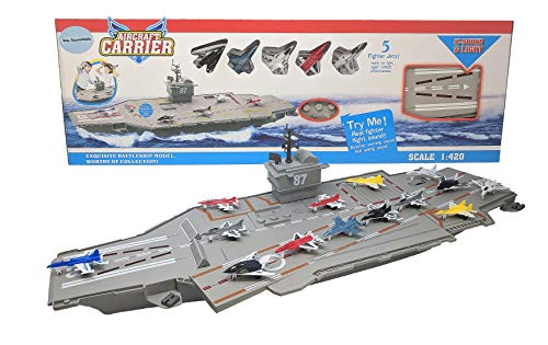 30 Inch Aircraft Carrier with Sound Effects and Light Up Runway (14 Fighter...