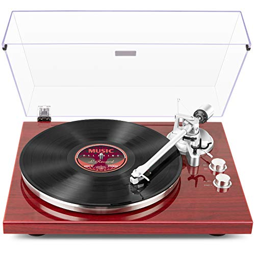 1 BY ONE Belt Drive Turntable with Bluetooth Connectivity, Built-in Phono...