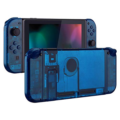 eXtremeRate Transparent Clear Blue Back Plate for Nintendo Switch Console,...