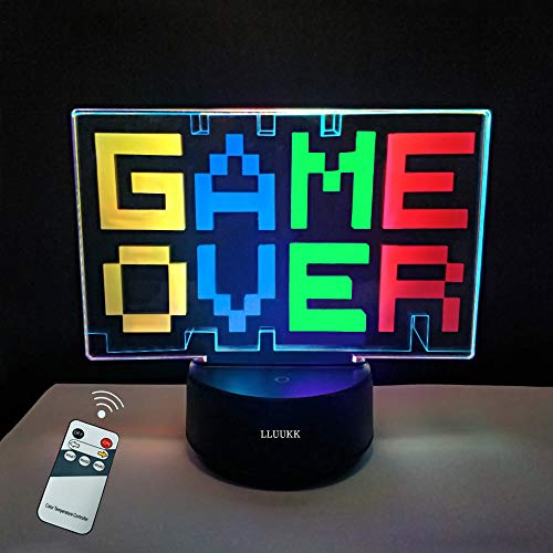 LLUUKK Game Over 3D Illusion Lamp Gift for Game Player Remote Control Smart...