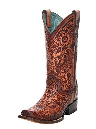 Corral C3364 Cognac Heart and Wings Tooled Square Toe Boots (8)