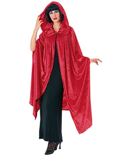 Rubie's 63' Crushed Velvet Hooded Costume Cloak with Collar, Red, One Size