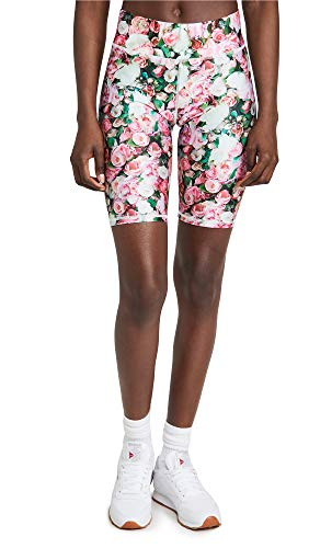 Terez Women's Floral Bike Shorts, Roses with Green, X-Small