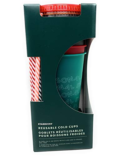 LIMITED EDITION HOLIDAY 2019 STARBUCKS Reusable Cold Cups with Lids &...