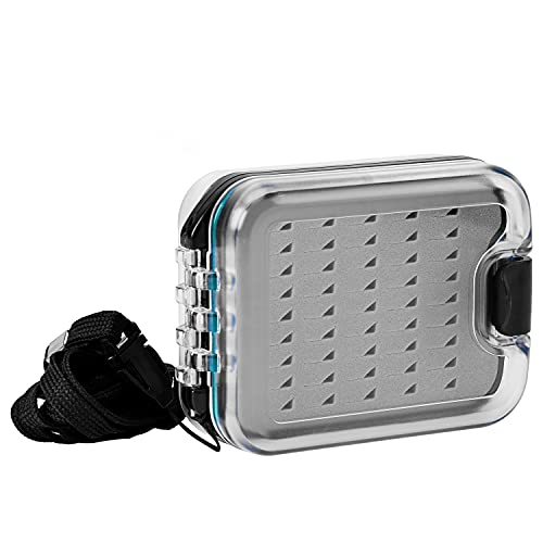SF Plastic Waterproof Pocket Fly Fishing Box Double Sided Clear Lid Easy...