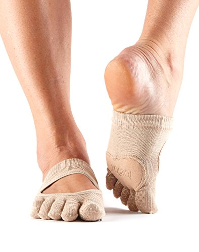 ToeSox Women's Releve Full Toe Grip Socks With Leather Pad, Nude, XSmall