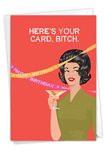 NobleWorks - Here's Your Card - Funny Birthday Greeting Card for Women -...