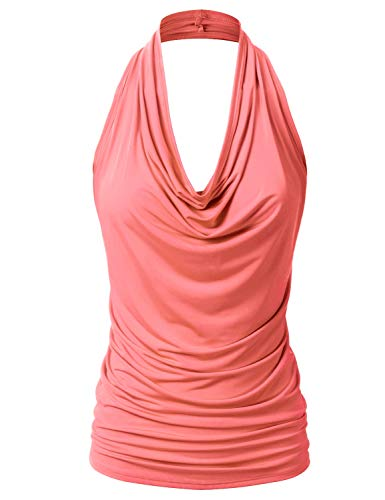 EIMIN Women's Casual Halter Neck Draped Front Sexy Backless Tank Top Coral...