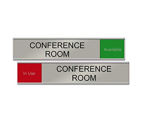 12' x 3' Conference Room Slider Sign, Silver-Red/Green