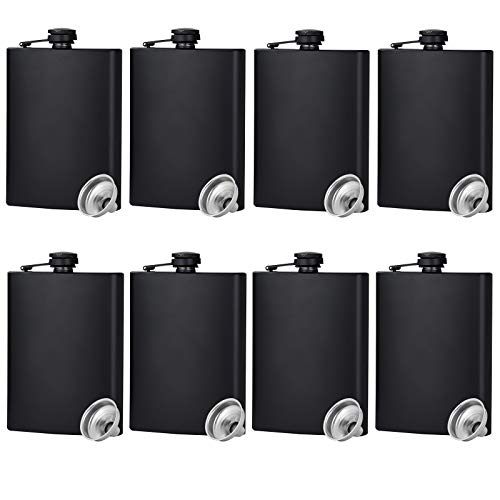 Hip Flask for Liquor Matte Black Stainless Steel Leakproof with Funnel,8...