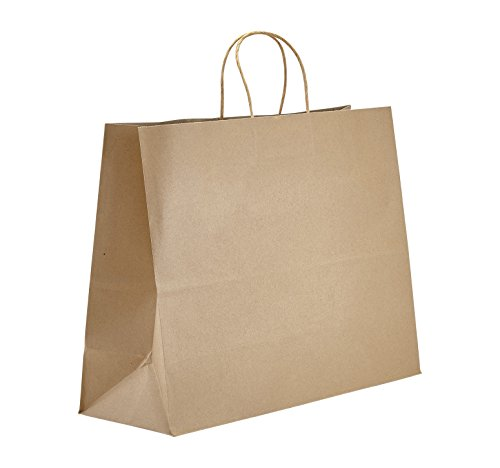 PTP BAGS Natural 16' x 6' x 12.5' Tote Bags [Pack of 250] Recyclable Kraft...