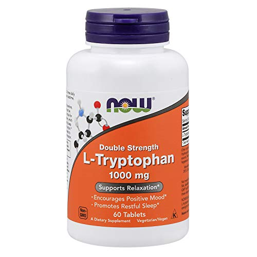 NOW Supplements, L-Tryptophan 1,000 mg, Double Strength, Encourages...
