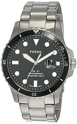 Fossil Men's FB-01 Quartz Stainless Steel Three-Hand Date Watch, Color:...