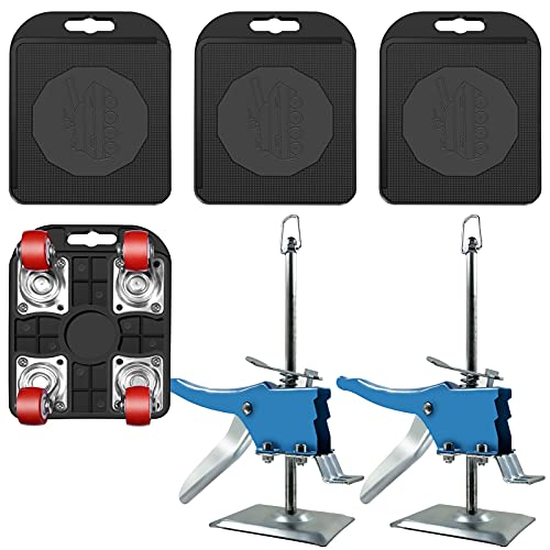 2 Furniture Jack Lifter Kit with 4 Slider for Conveniently Moving Heavy...