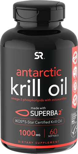 Antarctic Krill Oil 1000mg (Double Strength) with Omega-3s EPA & DHA +...