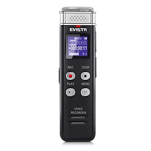 EVISTR 16GB Digital Voice Recorder Voice Activated Recorder with Playback -...
