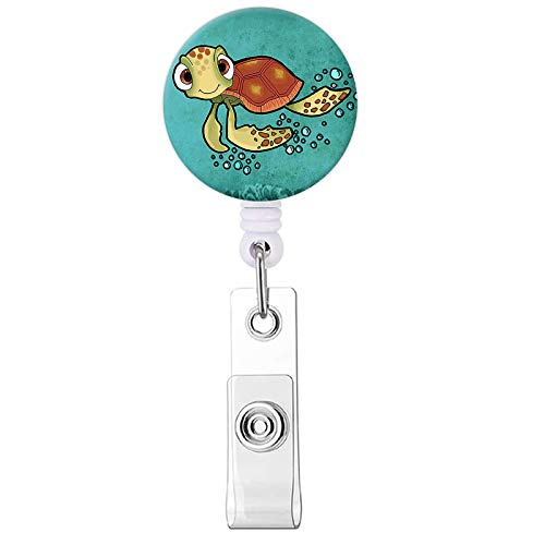 Badge Reel, Cute Turtle Pattern Retractable ID Card Badge Holder with...