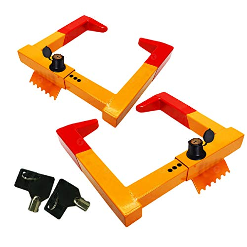 Zone Tech 2-Pack Security Wheel Chock Lock- Trailer Clamp Boot Tire Claw -...