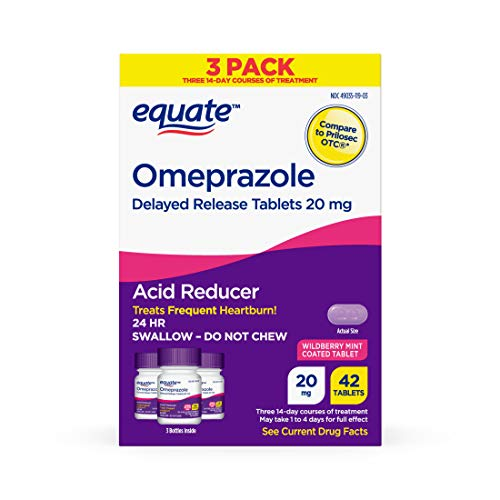 Equate Acid Reducer Omeprazole, Wildberry Mint, 20 mg, 42 Count, 3 Pack x 2...