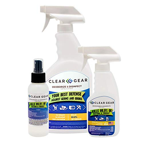 Clear Gear - Disinfectant, Cleaner, and Deodorizer For Sports Equipment,...