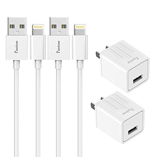 Pantom 2-Pack Wall Charger Plugs with 2-Pack 5-Feet Cables Charge Sync...