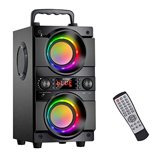 60W (80W Peak) Portable Bluetooth Speaker with Double Subwoofer Heavy Bass,...