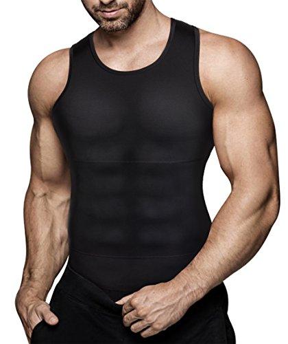 Mens Compression Shirt Slimming Body Shaper Vest Workout Tank Tops Abs...