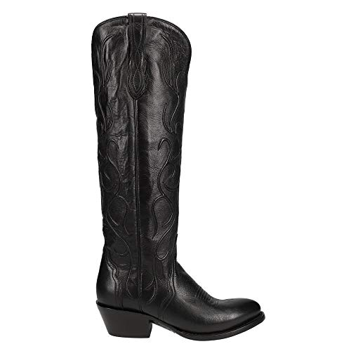 Lucchese Womens Peri Tooled-Inlay Round Toe Dress Boots Mid Calf Low Heel...
