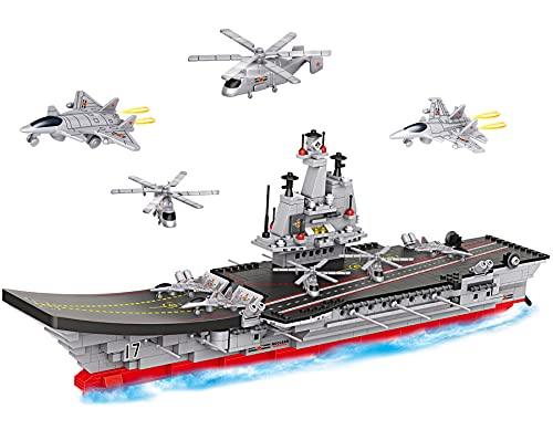 Military Aircraft Carrier Toy Building Blocks Set, 1131 Pieces Army...
