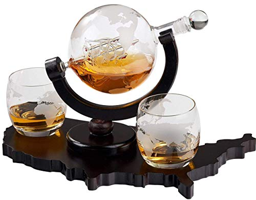 Whiskey Decanter Set World Etched Globe Decanter Airtight Stopper Antique...