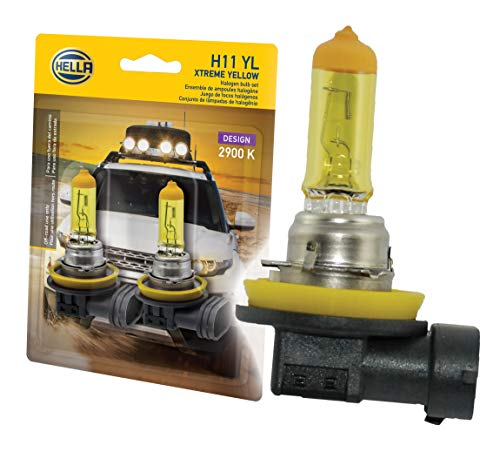HELLA H11 YL Twin Blister Xtreme Yellow Bulb (12V 55W), 2 Pack