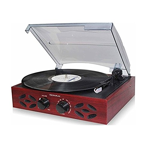 TechPlay ODC15 3 Speed Wooden Retro Classic Turntable with FM Radio,...