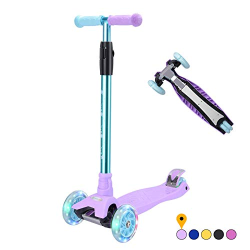 Kick Scooter Kids Scooter 3 Wheel Scooter, 4 Height Adjustable Pu Wheels...