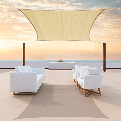 ColourTree 8' x 16' Beige Rectangle Sun Shade Sail Canopy Awning Fabric...
