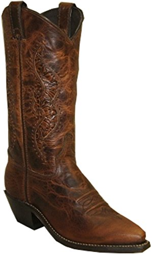 Abilene Women's Hand Tooled Inlay Cowgirl Boot Snip Toe Brown 9.5 M US