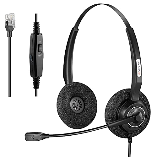 Arama Corded Phone Headset with Noise-Canceling Mic and Volume Mute Control...